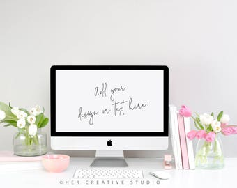 Styled Stock Photography | Computer Mockup | Spring Tulips Desktop Mockup | Styled Photography | Digital Image