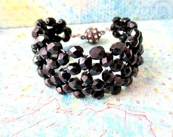 Black Beaded Wide Band Bracelet, Wide Band Cuff Style Bracelet, Beadwoven Jewelry, Bridesmaid Jewelry, Magnetic Rhinestone Clasp, Trendy