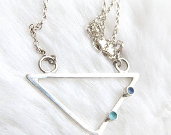 Triangle necklace- Blue necklace- Everyday necklace- Statement necklace- Geometric necklace- Valentines gift- Gift for girls- Womens gift