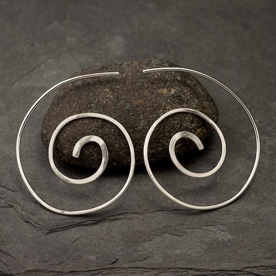 Spiral Earrings Sterling Silver - Silver Spiral Earrings - Silver Swirl Earrings- Dangle Earrings- Sterling Silver Jewelry Handmade