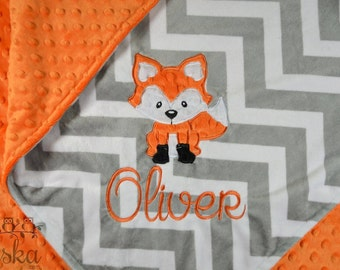 personalized blanket, minky blanket, personalized name blanket, name and fox applique blanket, choose your colors, choose your size.