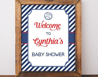 Baseball Baby Shower Welcome Sign, Personalized Baby Shower Welcome Sign, Red, White and Blue, DIY PRINTABLE