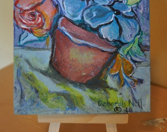 "Mini Floral Painting, Blue Flowers, Potted Flowers, Embellished Acrylic Pour, Floral Painted, ""Potted"""