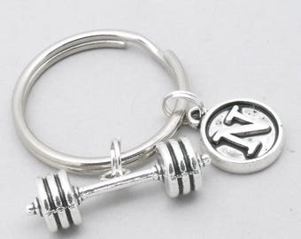 Barbell initial keychain | barbell keyring | dumbbell keychain | dumbbell keyring | weight lifting | gym motivation | personalised gym gift