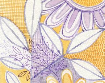 No.3, ORIGINAL watercolour, abstract floral, botanical, art, wall art, home decor