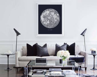 Moon Print - Instant Printable Art - Downloadable Wall Art - Moon Phase Art - Moon Poster - Minimalist Art Print - La Lune Poster