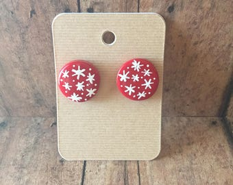 Red Christmas earrings, christmas earrings, ball earrings, red earrings, round earrings, snowflake earrings, christmas jewelry,