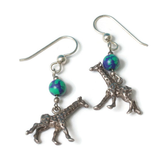 Giraffe Dangle Earrings Green Blue Beads Sterling Azurite Malachite Vintage