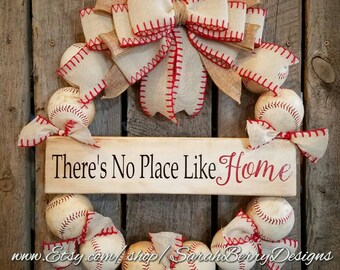 Baseball Wreath with Burlap Bow - Softball - Coach's Gifts- Baseball - Front Door Wreath - There's No Place Like Home- Spring Summer Wreath