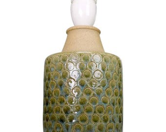 Danish Modern Stoneware Table Lamp with Blue and Green Circles by Soholm, 1960s