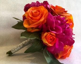Orange Rose and Pink Hydrangea Wedding Bouquet, Bridal Bouquet