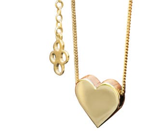 Solid 9ct Gold Necklace, Gold Heart Necklace, Valentine Necklace, Solid Gold, Gold Jewellery