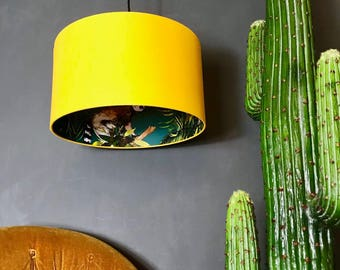 Teal Lemur Wallpaper Silhouette Lampshade with Egg Yolk Yellow
