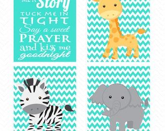 Read Me A Story Tuck Me In Tight Kiss Me Goodnight Giraffe Zebra Elephant Chevron Turquoise Nursery Room Decor Wall art Jungle Animals 197ad