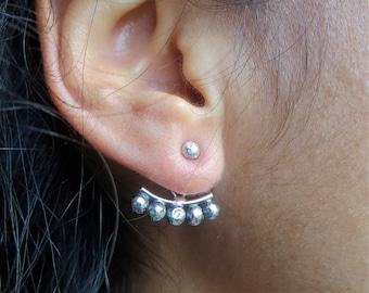 Sterling Silver Ear Jacket Earrings. Tribal Jewellery. Ear Climber. Double Sided Earring. Ear Crawler. Stud Earrings. Bohemian Jewelry