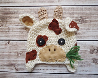 Crochet cow Hat, Newborn cow hat, Baby cow hat,