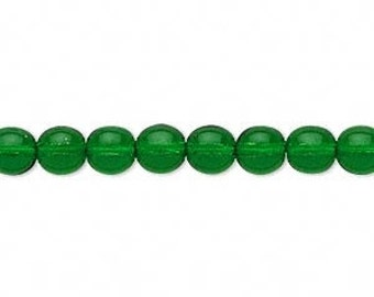 6 MM  clear EMERALD GREEN Druk beads (28)