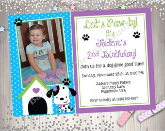 Puppy Birthday Party Invitation Invite Puppy Pawty Birthday Photo Invitation Puppy Party Invitation