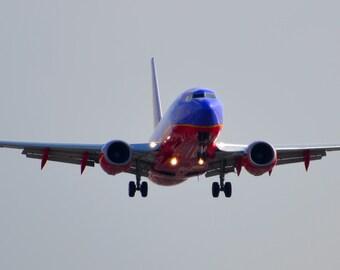 Landing Jumbo Jet Airplane Blue Red
