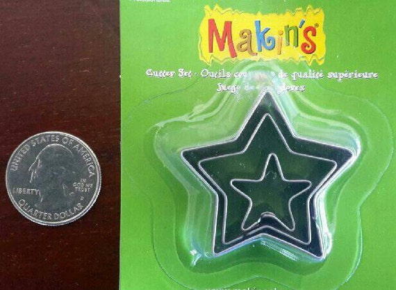 """3 piece star cookie cutter set with sizes from 7/8"""" to 1-3/4"""" tall"""