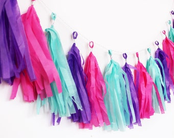Pink, Purple, and Aqua Tassel Garland   Tassel Banner   Pink and Purple Party Decor   Party Supplies   Birthday Party Decor   Pink and Aqua