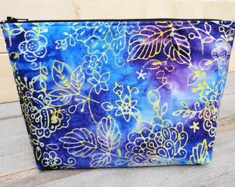 Makeup Bag , Zipper Pouch - Blue & Purple Batik