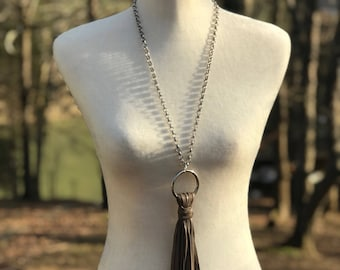 Upcycled Handmade Vintage Leather Tassel Necklace in Taupe