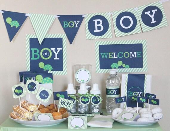 Turtle Bathroom Decor: Turtle Baby Shower Decorations Printable Instant Download