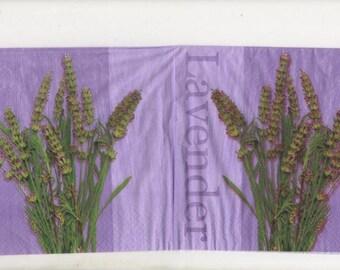 3207 - Set of 4 napkins theme bouquet of lavender
