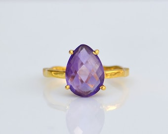 Purple amethyst ring, stacking rings, February Birthstone ring, prong set ring, purple amethyst jewelry, gold gemstone ring, gift for her