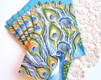 Prince Peacock Notecards Set of Six