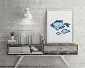 Nautical Art Printable Wall Art Navy Blue Watercolor Illustration Coastal Decor Fish Print Bathroom Print, Digital Download