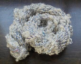 OCEAN WAVES Handspun Boucle Yarn, Kid Mohair Locks, Mulberry Silk, Soft Handspun Yarn, Textured Yarn, Chunky Knit Yarn, Weaving Yarn, Knit
