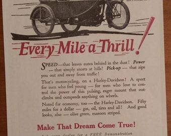 Vintage Harley Davidson Ad Poster