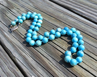 Vintage Turquoise Beaded Necklace // Turquoise Bead Necklace // Turquoise Stone Bead Necklace