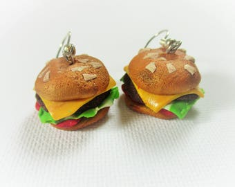 Earrings fimo burgers