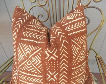 BOHO Rust  Mudcloth Pillow cover   African Mud cloth arrows pillow cover Various sizes