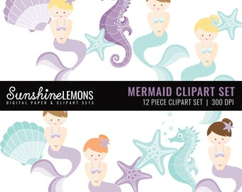 Mermaid Clipart - Mermaid and Shell Clipart - Instant Download - Clipart set of 12 - COMMERCIAL USE Read Terms Below
