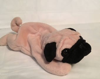 TY Beanie Baby - PUGSLY the Pug Dog - Pristine with Mint Tags - PVC Pellets - Retired