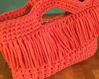 Crochet Fringe Coral Top Handle Handbag Purse