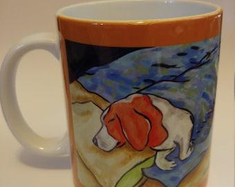 beagle art - beagle sleeping dog art mug cup 11 oz gift - beagle gifts