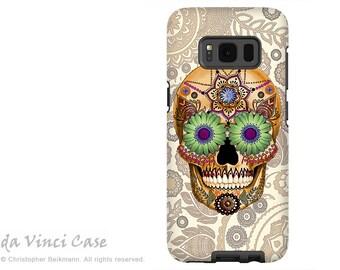 Case for Samsung Galaxy S8 PLUS - Tan Paisley Sugar Skull Galaxy S 8 PLUS Case - Dia De Los Muertos Art - Dual Layer Case by Da Vinci Case