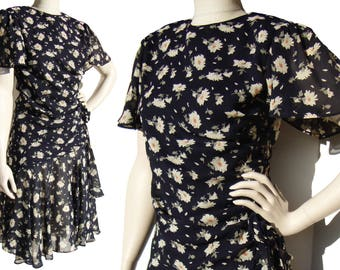 Vintage 80s Dress Draped Floral Chiffon Cocktail Party Frock M