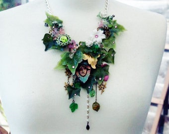 Statement Necklace 'POISON IVY'  Vintage Necklace Shironuri Woodland Fairy Assemblage  Necklace an original design by Katherine Cooper