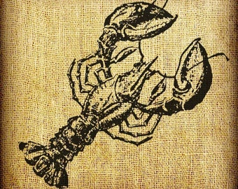 Lobster Crayfish Vintage Digital Image Transfer Download 300 dpi for Pillows Totes Bags Napkins Towels