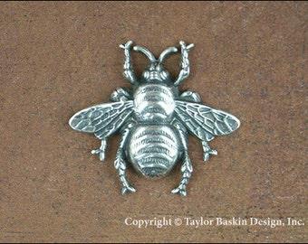 Antik Silber vergoldet Bumble Bienen (Artikel 7004-große AS) - 2 Stück