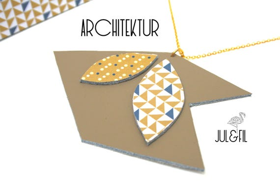 Genuine leather, and 24 k gold plated necklace unstructured architecture leather taupe, shuttle, chevron, triangles, polka dots