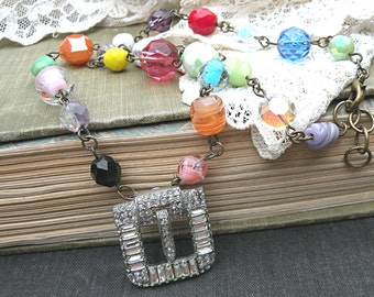 spring necklace buckle assemblage rhinestone upcycled vintage beads colorful upcycled jewelry bauble beachy