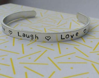 Hand stamped jewellery /  aluminium / cuff bracelet / personalised gift / metal stamped jewellery / UK