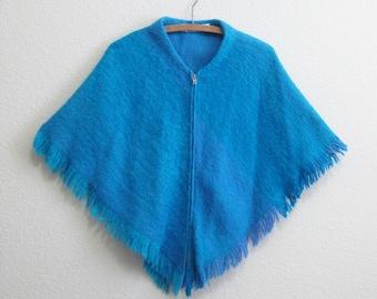Wool Poncho Finland - Blue Fringe Wrap - Turquoise Wool Finnish